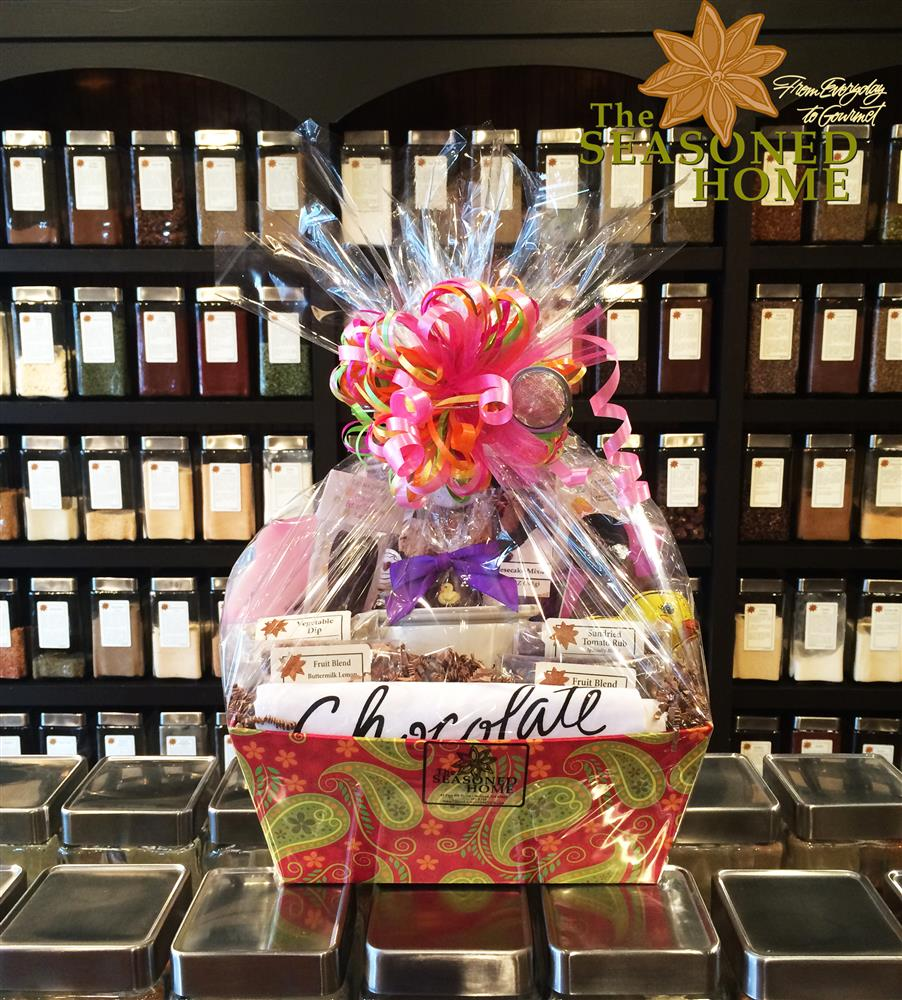 Custom gift baskets the seasoned home we package all of our gift baskets in cellophane with a large bow and gift message complimentary we ship anywhere in the united states negle Choice Image